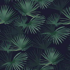 Exotic tropical forest. Seamless pattern. Vector background.