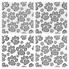 Cat footprint seamless pattern.