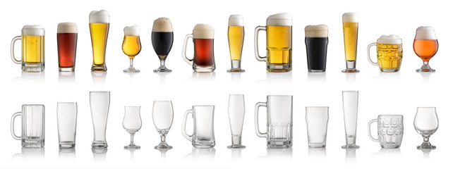 Photo sur Plexiglas Biere, Cidre Set of various full and empty beer glasses. Isolated on white background