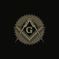 Freemasonry Flat Vector Symbol / Square And Compasses