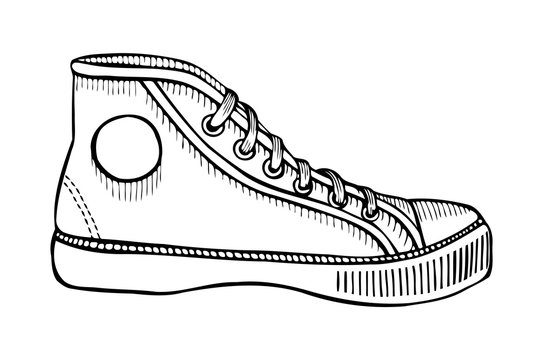 Hand drawn sketch of sport shoes