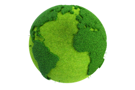 Grass Earth Globe, 3D rendering