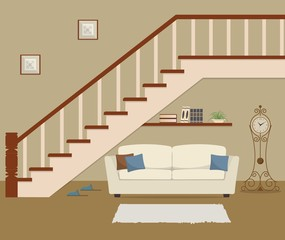 White sofa with pillows, located under the stairs. There is also a grandfather clock and bookshelf in the picture. Vector flat illustration.