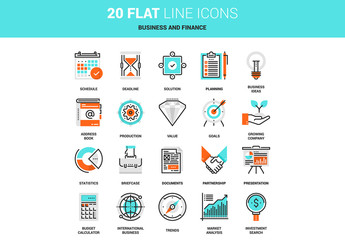 20 Line Art Business and Finance Icons