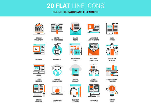 20 Line Art Online Education and E-Learning Icons
