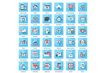 36 Square Blue and Red Online Development Icons