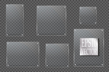 Glass plates are installed. Vector glass banners on a transparent background. Glass. Glass paintings. Color frames.  Fototapete