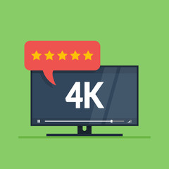 Flat screen tv with 4k Ultra HD video technology. User reviews in rating form with stars on speech bubble. Vector illustration isolated on green background.