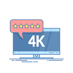 Flat screen tv with 4k Ultra HD video technology. User reviews in rating form with stars on speech bubble. Thin line vector illustration isolated on white background.