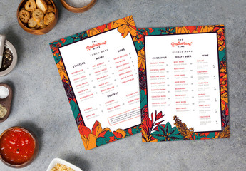 Two Menu Layouts with Floral Borders