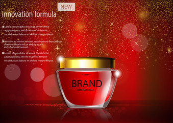 eps10 vector cosmetic advertising banner for web, print. Advertisement presentation poster of luxury revolutionary formula face cream with bokeh, golden glitter effect. Realistic brand tube package
