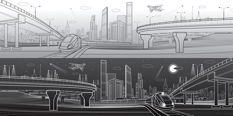 Automobile highway, infrastructure and transportation panorama, airplane fly, train move, night city, towers and skyscrapers, urban scene, vector design art