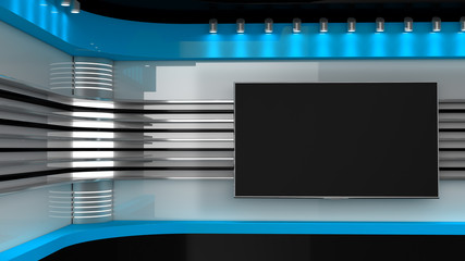 Tv Studio. Blue studio. Backdrop for TV shows .TV on wall. News studio. The perfect backdrop for any green screen or chroma key video or photo production. 3D rendering. Wall mural