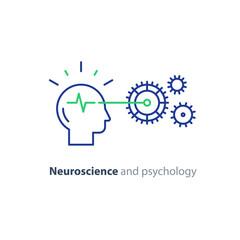 Human head and gear wheel mechanism, brain study, artificial intelligence icon