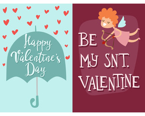 Happy valentines day angel greeting card vector illustration love romance abstract decorative banner.