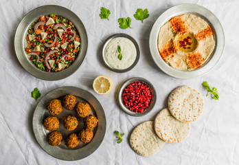 Selection of traditional Arab and Jewish food, selective focus. Healthy food, fitness, and sport diet concept.
