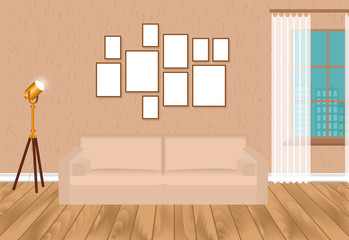 Mockup living room interior in hipster style with frames, sofa, lamp, concrete wall and parquet flooring. Loft design.