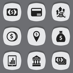 Set Of 9 Editable Finance Icons. Includes Symbols Such As Holdall, Coins Raise, Bar Graph And More. Can Be Used For Web, Mobile, UI And Infographic Design.