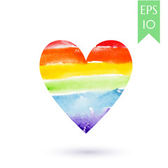 Watercolor painted colorful rainbow heart, vector element for design