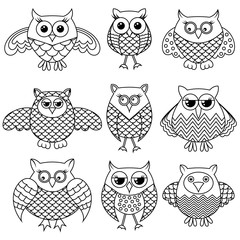 Nine funny cartoon owl outlines