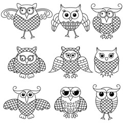 Set of nine funny cartoon owl outlines