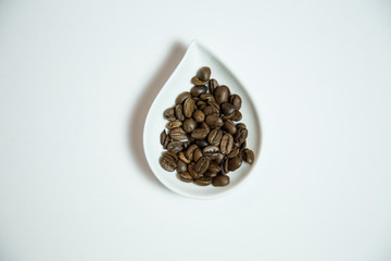 Tray of whole puerto rican coffee beans for spa treatment