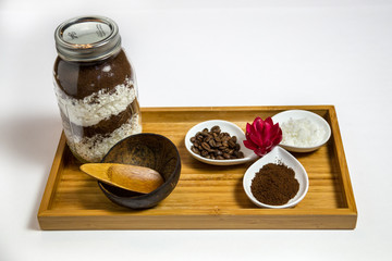 Coffee coconut body scrub spa ingredients - angle view