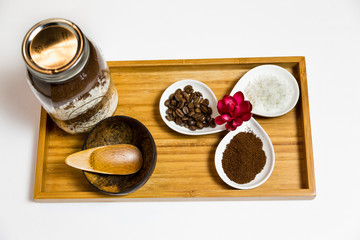 Coffee coconut body scrub spa ingredients - top view