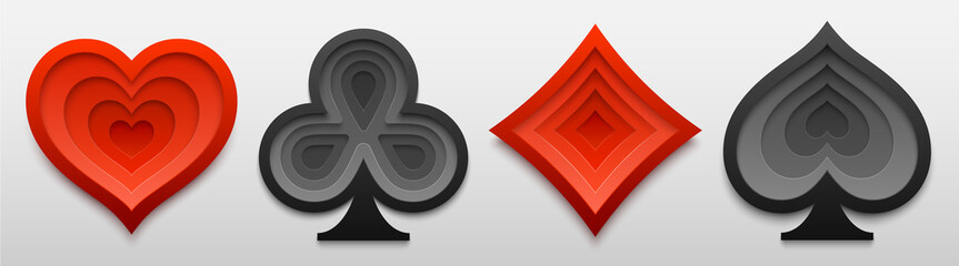 Set of playing card suit sign shapes. Paper art of four card symbols. Vector illustration for casino and poker games.