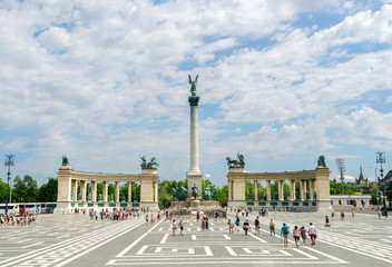 Tourists Throng Heroes' Square in Budapest, Hungary