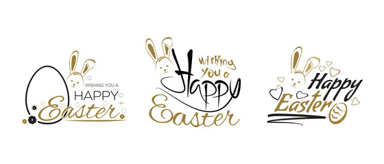 Easter lettering design set with cute Easter Bunny and Easter egg. Vector illustration
