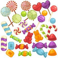 Candy and caramel sweets vector isolated flat icons set