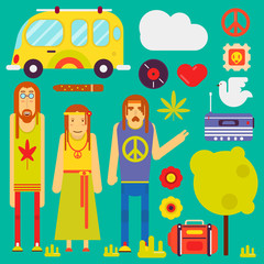 Hippie culture style vector characters and symbols