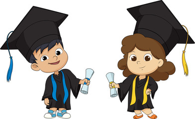 Happy graduated Kids.vector and illustration.
