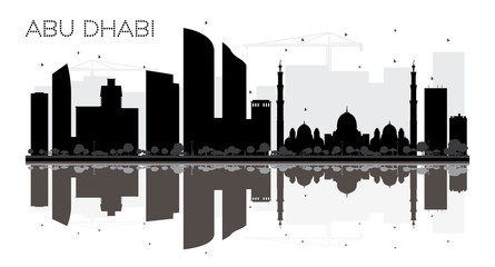 Abu Dhabi City skyline black and white silhouette with reflection.