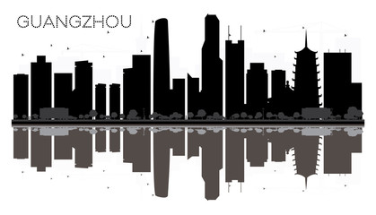 Guangzhou City skyline black and white silhouette with reflections.