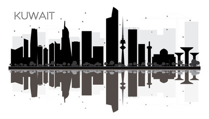 Kuwait City skyline black and white silhouette with reflections.