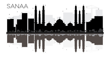 Sanaa City skyline black and white silhouette with reflections.