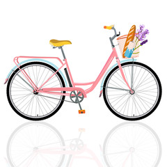 Detailed bicycle, romantic bike with flowers, bike for breakfast, vector bike for design