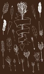 Monochrome tribal set with arrows, hand drawn ethnic collection with arrows for design, rustic decorative arrows and feathers, hippie and boho style vector illustration, arrow with title