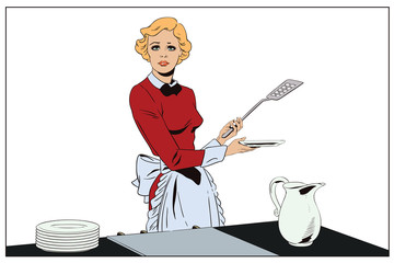 Confused girl in the kitchen. People in retro style.