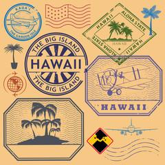 Retro vintage postage stamps set Hawaii