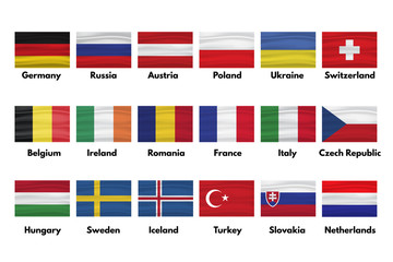 Netherlands, Slovakia, Turkey, Sweden, Iceland, Hungary, Czech Republic, Italy France, Romania, Ireland, Belgium, Switzerland, Ukraine, Poland, Austria, Russia, Germany  flags set with shadows