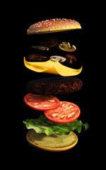 3d Delicious hamburger with flying ingredients on black background, 3d illustration