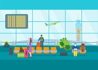 Cartoon Airport Waiting. Vector