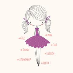 Cute fashion girl. Vector nursery illustration