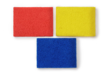Three rectangles of blue, yellow and red on a white background