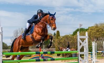 Tuinposter Paardrijden Equitation, saut d'obstacles, compétition.