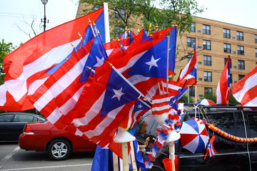 Puerto Rican flags being sold at a festival