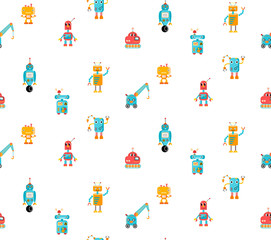 Beautiful kid's pattern with colorful robots